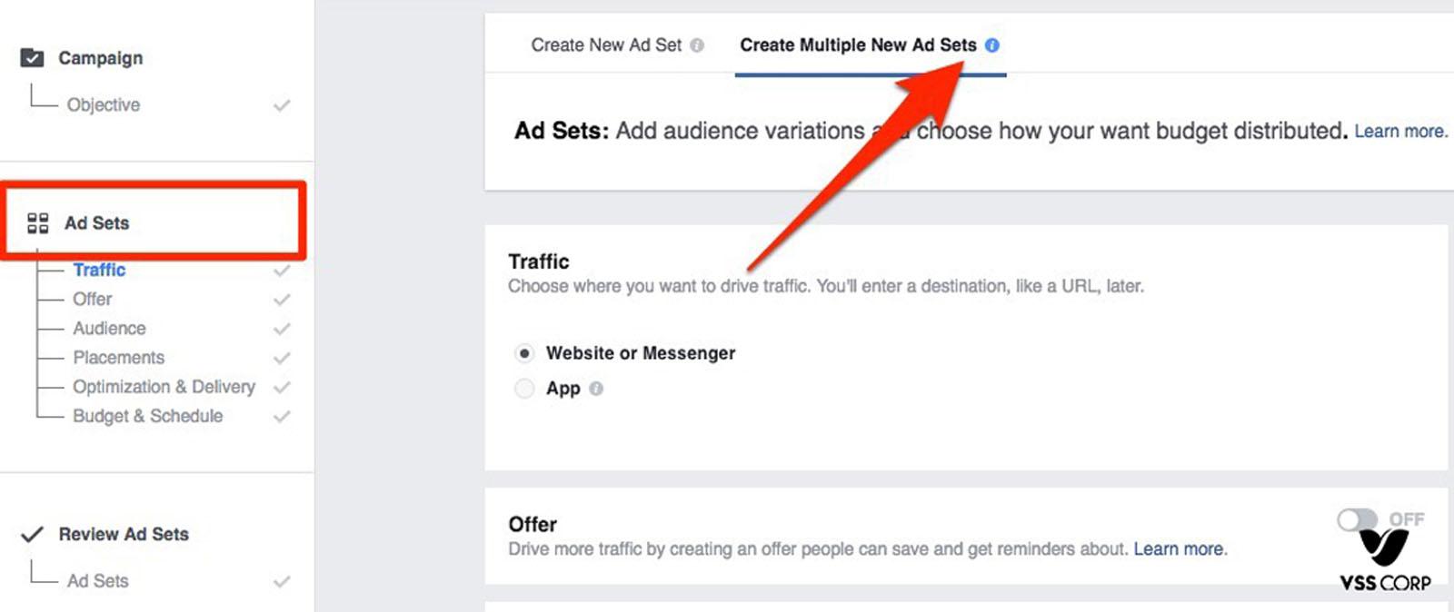 Tạo Bộ quảng cáo mới hoặc chọn Bộ quảng cáo cũ mà bạn muốn sửa đổi.