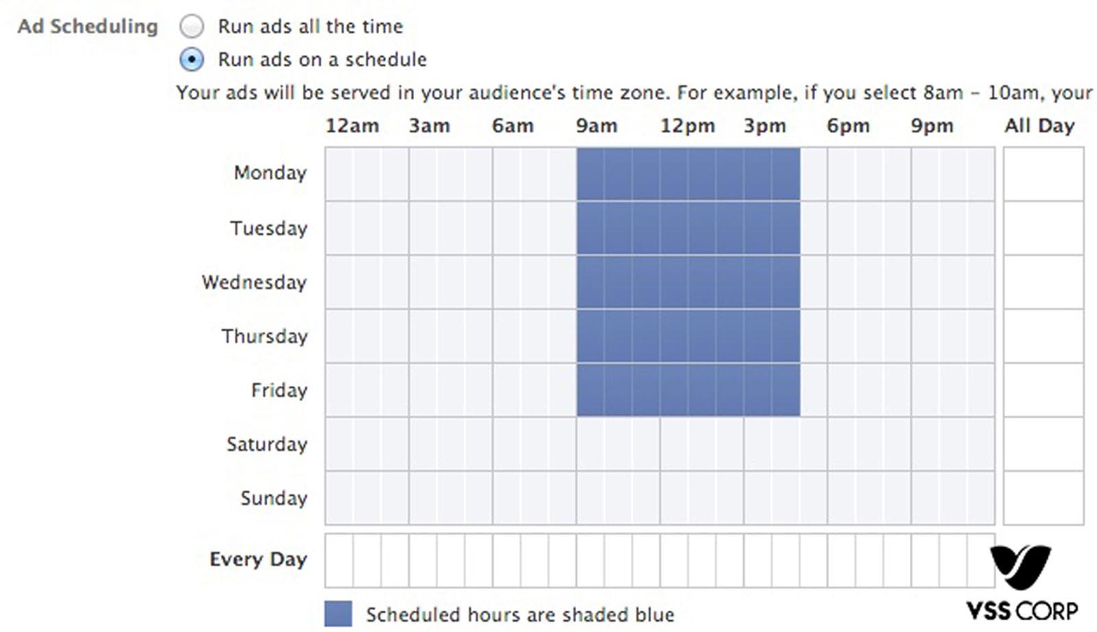 Chọn khoảng thời gian mà bạn muốn hiển thị quảng cáo, chỉ cần nhấn chìm và kéo là thực hiện được.