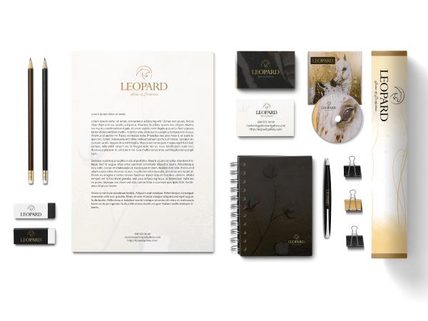 Bộ nhận diện thương hiệu Tranh dát vàng Leopard